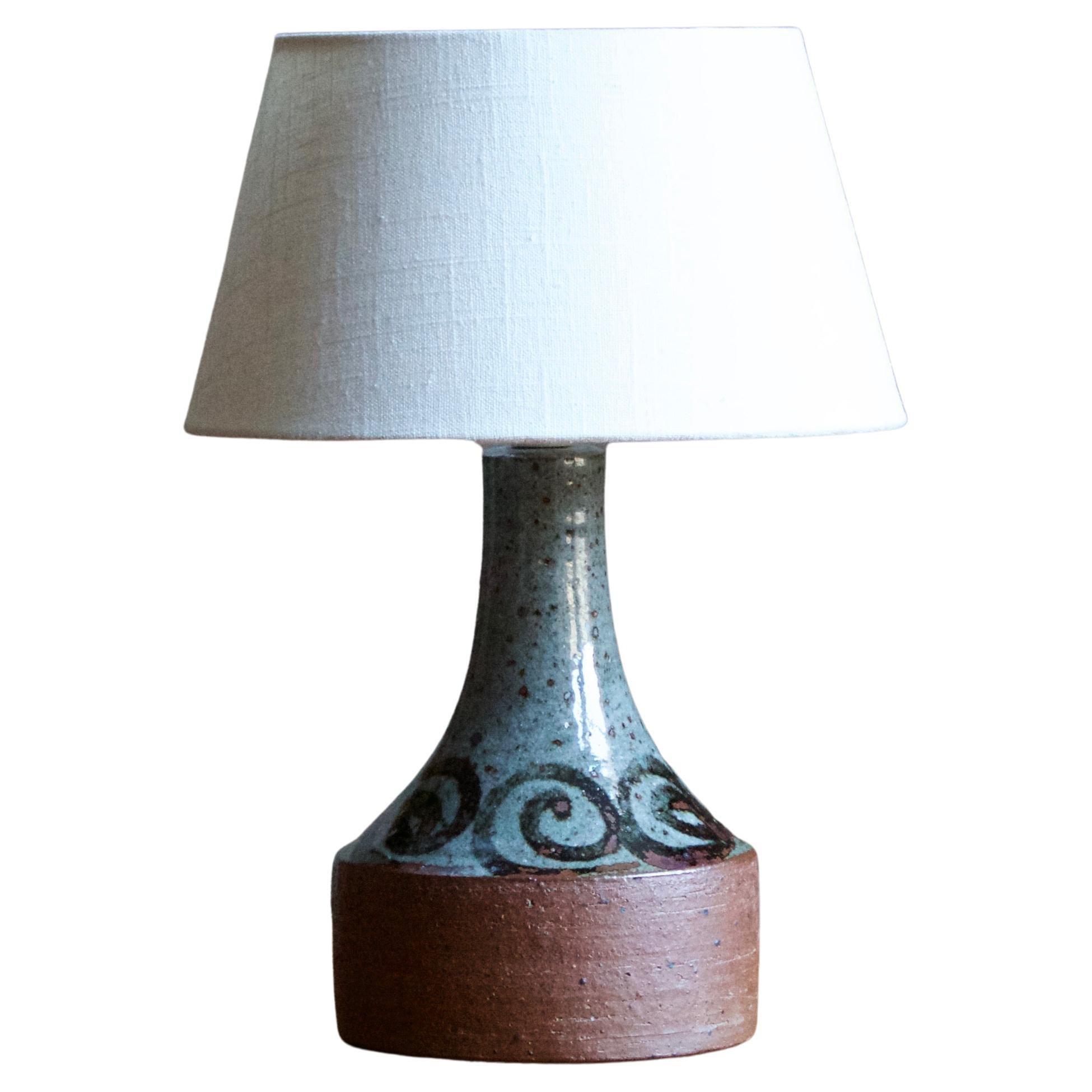 Helle Allpass, Table Lamp, Semi-Glazed Stoneware, Artists Studio Denmark, 1960s