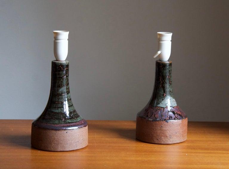 Mid-Century Modern Helle Allpass, Table Lamps, Semi-Glazed Stoneware, Artists Studio Denmark, 1960s For Sale