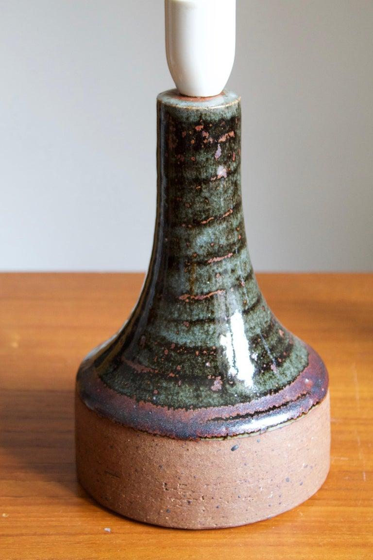 Danish Helle Allpass, Table Lamps, Semi-Glazed Stoneware, Artists Studio Denmark, 1960s For Sale