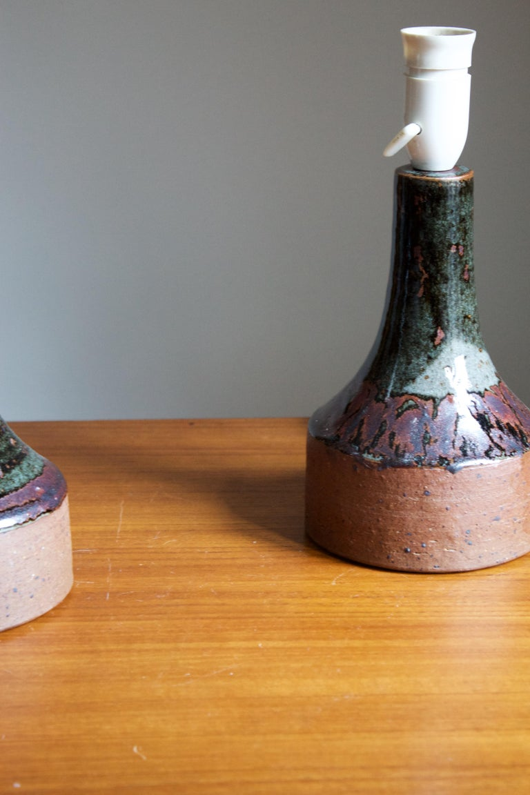 Helle Allpass, Table Lamps, Semi-Glazed Stoneware, Artists Studio Denmark, 1960s In Good Condition For Sale In West Palm Beach, FL