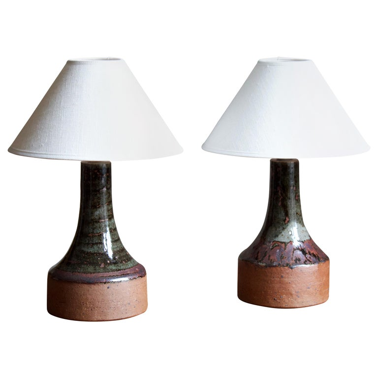 Helle Allpass, Table Lamps, Semi-Glazed Stoneware, Artists Studio Denmark, 1960s For Sale