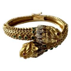 Hellenistic Double Headed Lion 18 Karat Yellow Gold Bracelet by Lalaounis