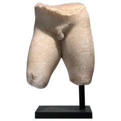 Hellenistic Marble Torso of a Young Male Probably an Ephebe