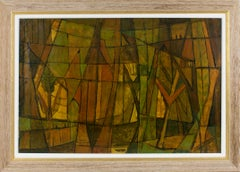 Post-Cubist Abstract Oil on Canvas Painting by Hellier