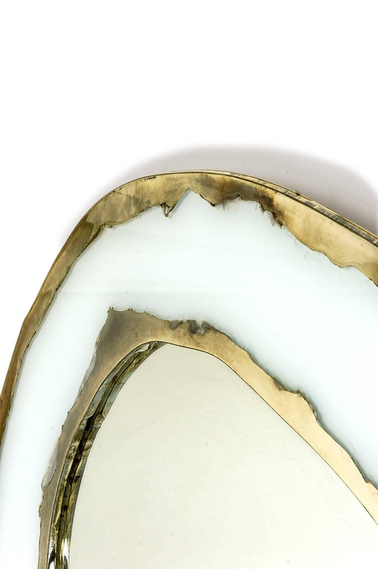 LIFE Mirror, Art Glass Silvered, Opale White and Mirror, Birch Wood Handmade In New Condition For Sale In Pietrasanta, IT