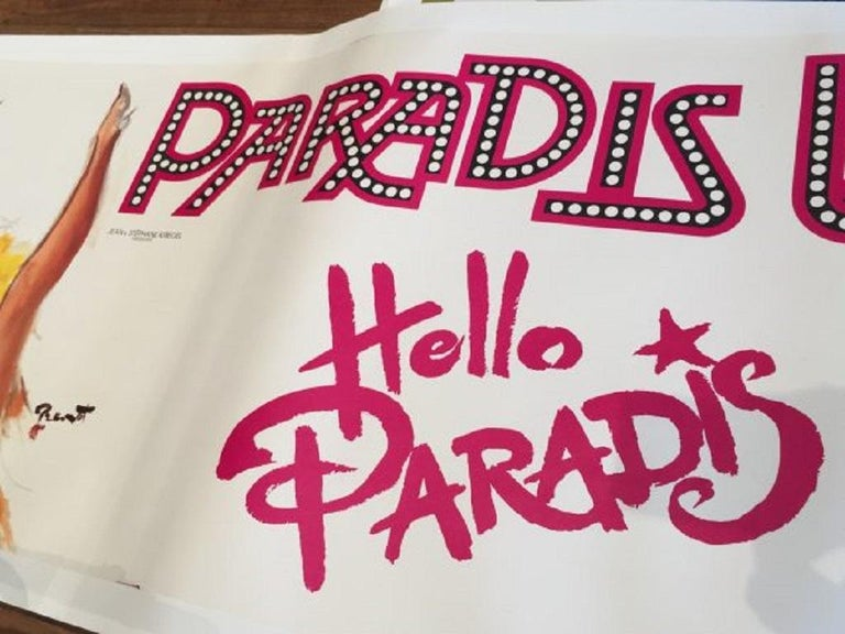 Hello Paradis by Brenot Bus Poster Original Vintage Poster In Excellent Condition For Sale In Melbourne, Victoria