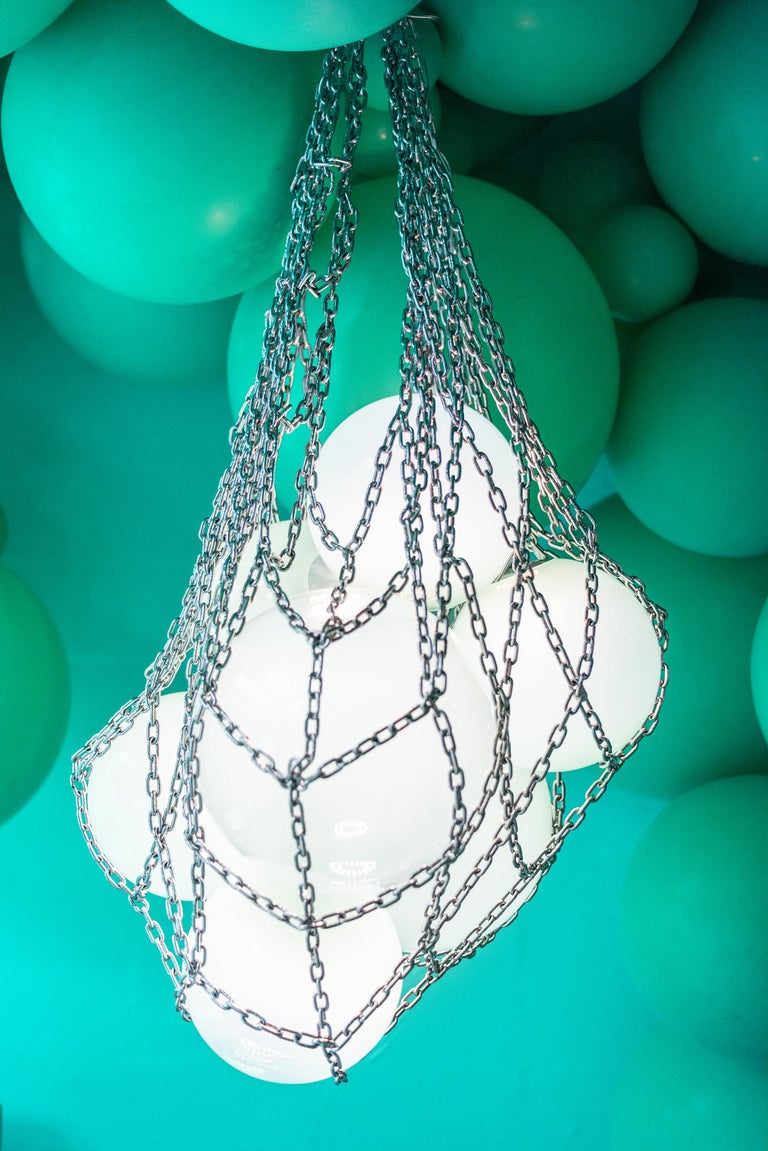Helmi Hand Blown Green Glass and Steel Net Contemporary Chandelier In New Condition For Sale In London, Greater London