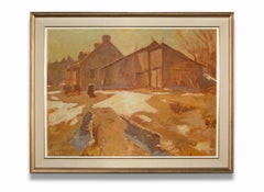 """""""Springtime Reflections No. I"""" House & Shed within  Early Spring Landscape, Oil"""