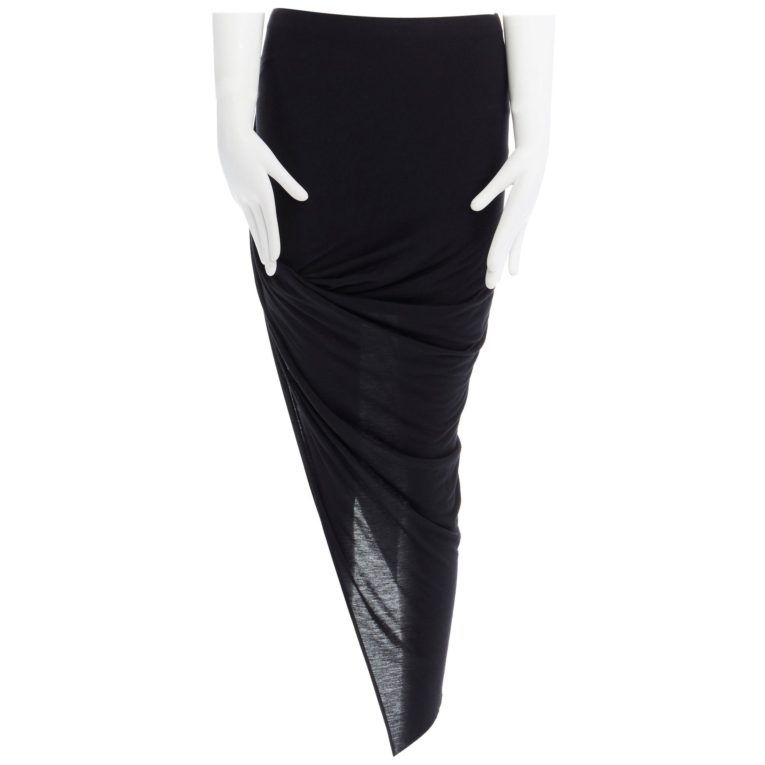 HELMUT HELMUT LANG black micro modal nylon draped open side casual skirt XS