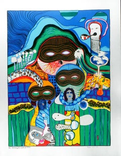 One Morning the Mask Got Stuck,  Surrealist Limited Edition, Hand-Signed Print