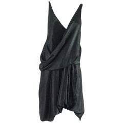 Helmut Lang Black Satin Dress with Crossing Straps - 6