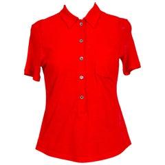 Helmut Lang collectors vintage 1998 red cotton jersey top