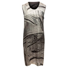 Helmut Lang Grey & Black Silk Sleeveless Dress