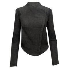 Helmut Lang Grey & Black Wool & Leather Moto Jacket