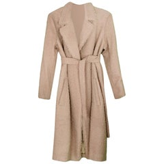 Helmut Lang NWT Nude Wool Shaggy Longline Wrap Coat with Belt sz L rt. $1,595