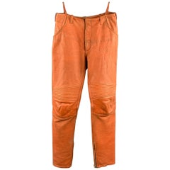 HELMUT LANG Orange Distressed Leather Biker Casual Pants