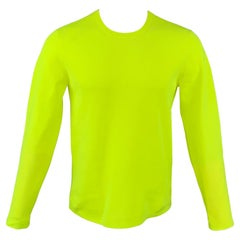 HELMUT LANG Pre-Fall 2020 Size M Neon Yellow Textured Polyester T-shirt