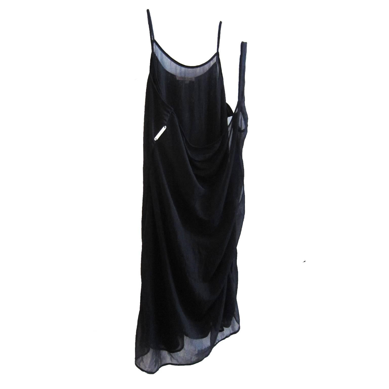 Helmut Lang Sheer Navy Layered Dress SS 1995