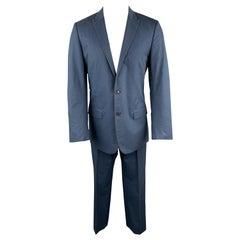 HELMUT LANG Size 40 Blue Striped Cotton Peak Lapel Suit