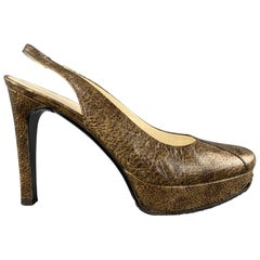 HELMUT LANG Size 5.5 Brown Textured Leather Platform Slingback Pumps