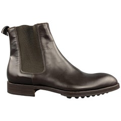 HELMUT LANG Size 7 Brick Leather Pointed Toe Ankle Chelsea Boots