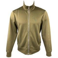 HELMUT LANG Size L Olive Polyester / Cotton Sport Stripe Track Jacket