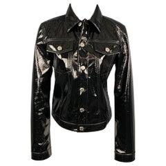 HELMUT LANG Size M Black Polyester Blend Trucker Jacket