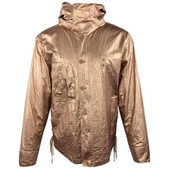 HELMUT LANG Size M Metallic Copper Wrinkled Tyvek Hooded Lace Up Jacket