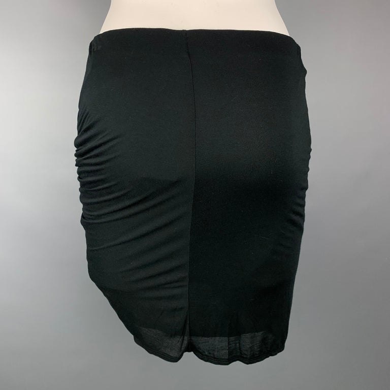 HELMUT LANG Size S Black Jersey Modal Ruched Mini Skirt In New Condition In San Francisco, CA
