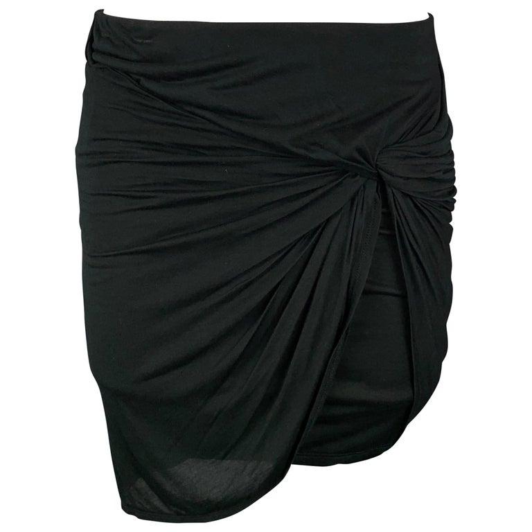 HELMUT LANG Size S Black Jersey Modal Ruched Mini Skirt