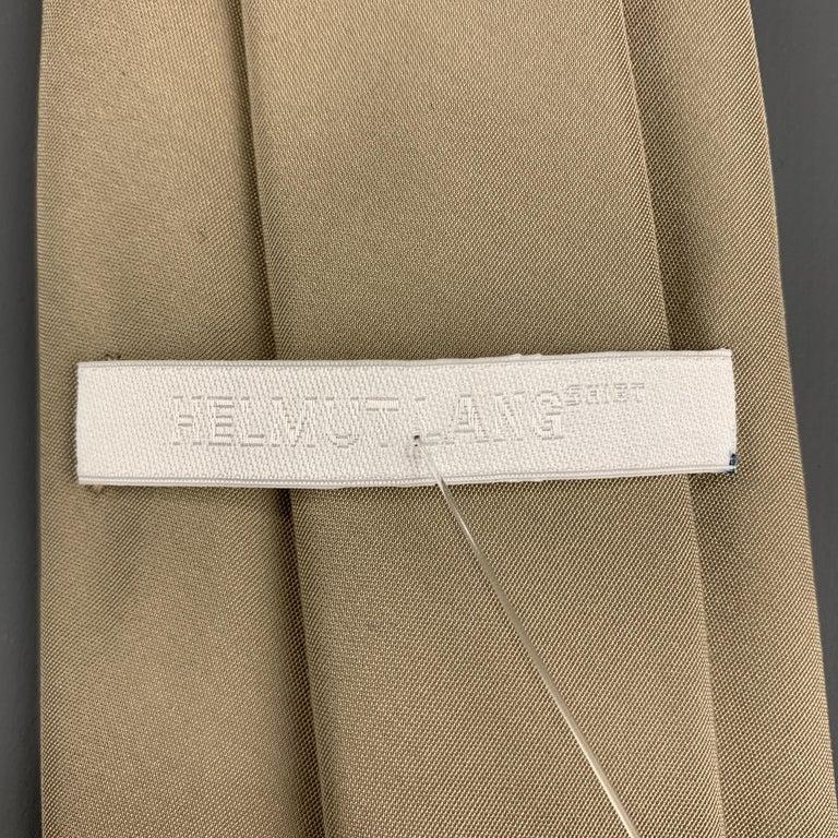 Women's HELMUT LANG Solid Khaki Beige Silk Tie For Sale