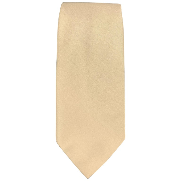 HELMUT LANG Solid Khaki Beige Silk Tie For Sale