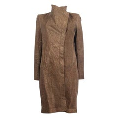 HELMUT LANG Tobacco brown Distressed Dried leather Coat Jacket S
