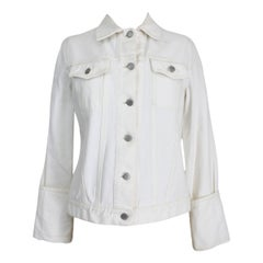 Helmut Lang White Cotton Denim Biker Short Jacket 1990s