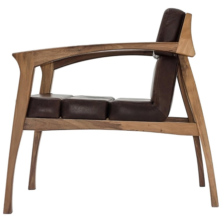 Helmut, Lounge Chair with Leather Upholstered Seats For Sale