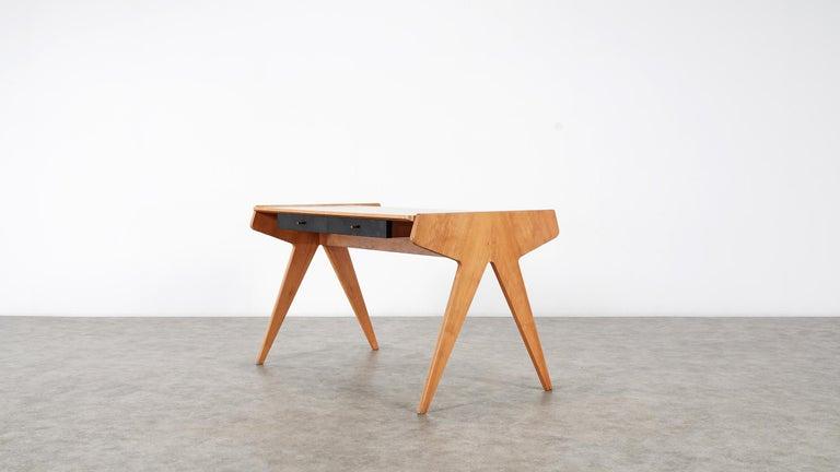 Helmut Magg, 2 Vided Bookshelf Desk, 1950 for WK Möbel, Germany in Cherrywood For Sale 5