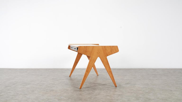 Helmut Magg, 2 Vided Bookshelf Desk, 1950 for WK Möbel, Germany in Cherrywood For Sale 7