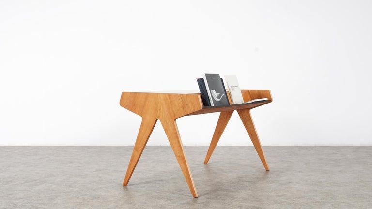 Helmut Magg, 2 Vided Bookshelf Desk, 1950 for WK Möbel, Germany in Cherrywood For Sale 9