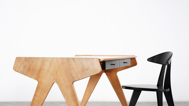 Mid-Century Modern Helmut Magg, 2 Vided Bookshelf Desk, 1950 for WK Möbel, Germany in Cherrywood For Sale