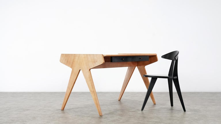 Helmut Magg, 2 Vided Bookshelf Desk, 1950 for WK Möbel, Germany in Cherrywood In Good Condition For Sale In Munster, NRW