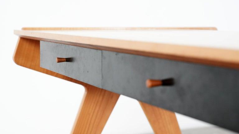 Helmut Magg, 2 Vided Bookshelf Desk, 1950 for WK Möbel, Germany in Cherrywood For Sale 1