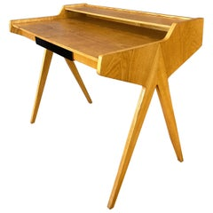 Helmut Magg for WK Möbel Elm Compass Leg Desk with Drawer and Cubby, 1950s