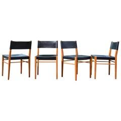 Helmut Magg Midcentury Model 3024 Oak Leather Dining Chair Deutsche Werkstätten