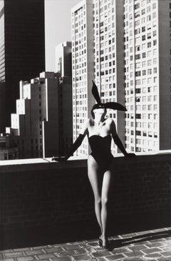 Helmut Newton, 'Elsa Peretti in Halston Bunny Costume', signed