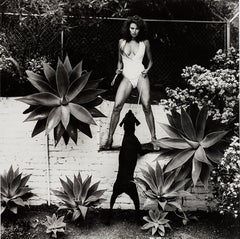 Helmut Newton, 'Raquel Welch in her backyard, Beverly Hills', 1981 signed