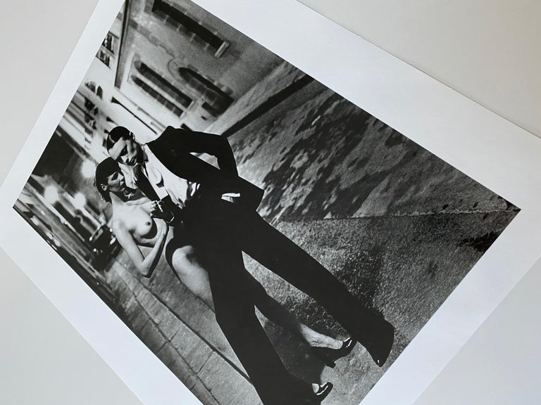 Helmut Newton, 'Rue Aubriot', 1975 Signed Original Silver Gelatin Print.  To the trade pricing Black and White Photography / Contemporary Photography  HELMUT NEWTON (1920–2004) Yves St. Laurent, Rue Aubriot, French Vogue, Paris, 1975 gelatin silver