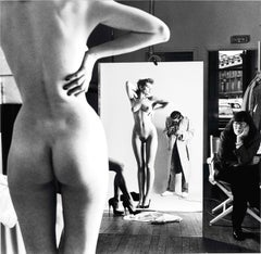 Helmut Newton, 'Self Portrait with Wife and Model' 1981 (Signed / Stamped)