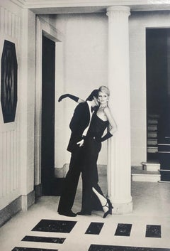 """Man Kissing Woman, Paris"" Vintage Silver Gelatin Print by Helmut Newton"