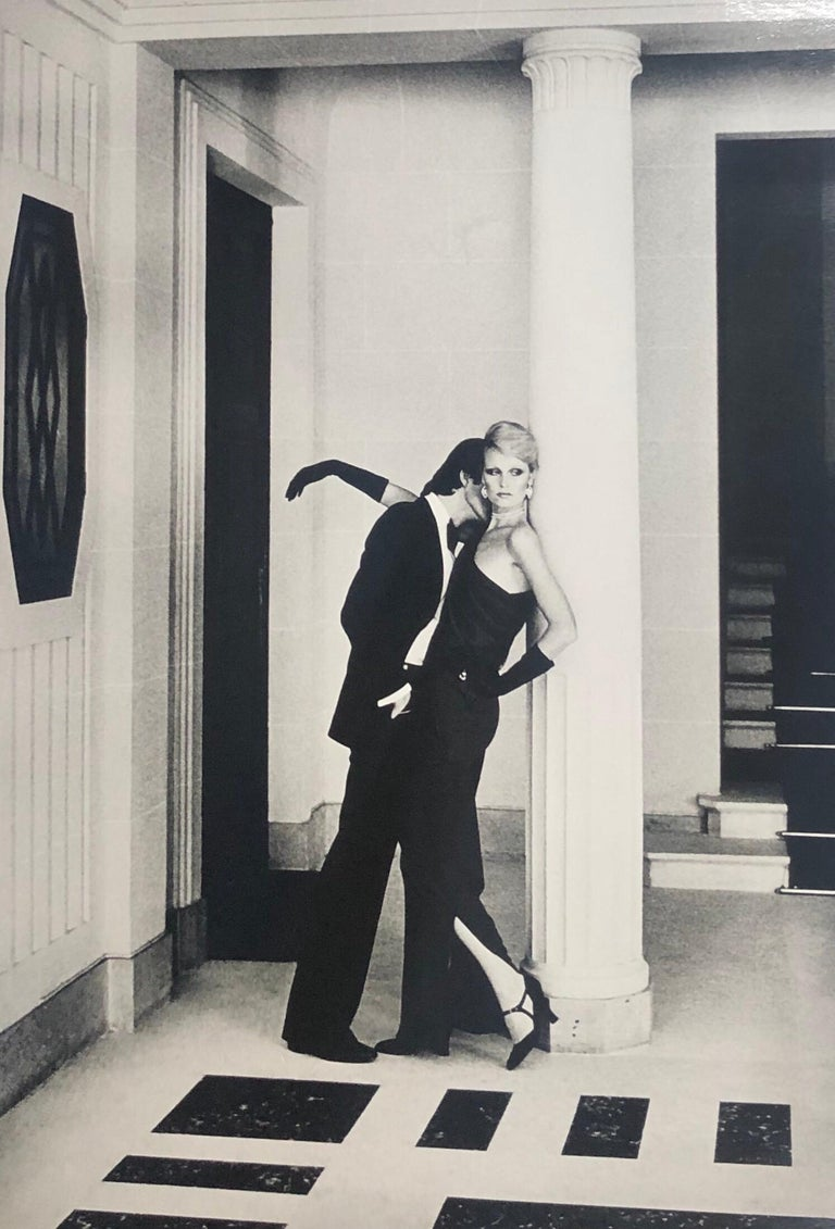 """Man Kissing Woman, Paris"" Vintage Silver Gelatin Print by Helmut Newton shot for YSL and French Vogue.  Image measures approximately 13""x19"" on a 16.5""x20"" silver gelatin sheet.  One of the more popular images in the ""Private Property"""