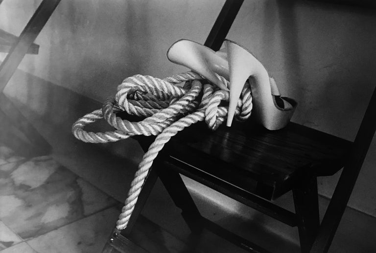 Helmut Newton Black and White Photograph - Rope To The Feet, Vogue, 1985